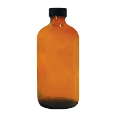 BOSTON ROUND GLASS BOTTLE w/SCREW CAP (Amber, 0.5 oz / 15 mL, 18 – 400)